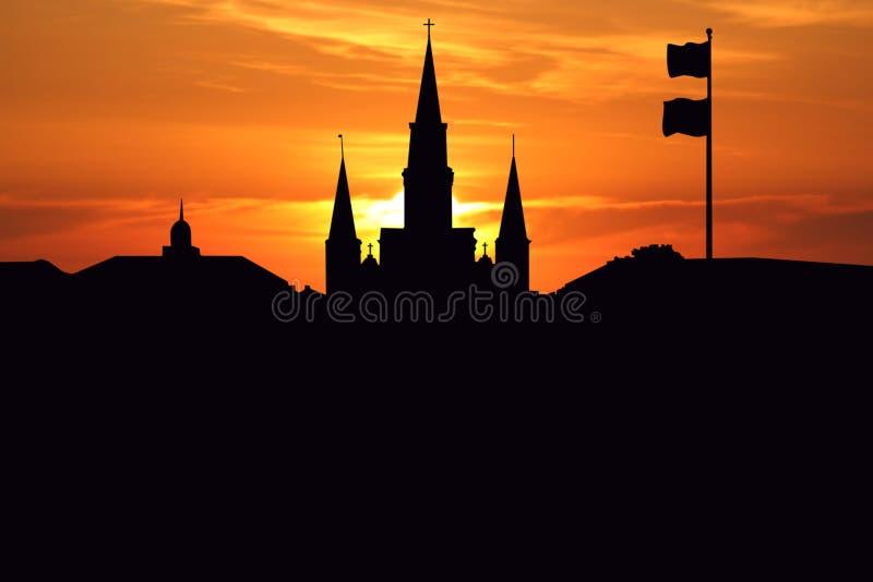 Catedral de St. Louis en la puesta del sol ilustración del vector