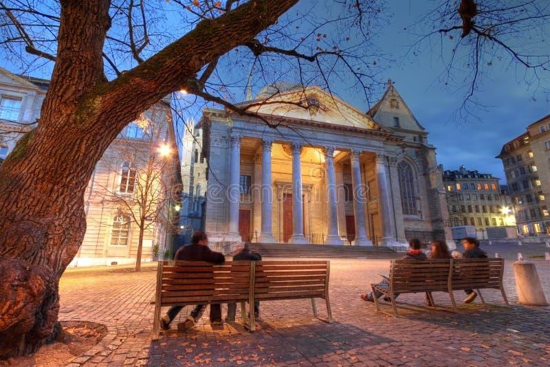 Catedral de St-Pedro, Ginebra, Suiza foto de archivo libre de regalías