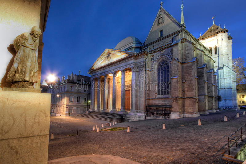 Catedral de St-Pedro, Ginebra, Suiza imagen de archivo libre de regalías
