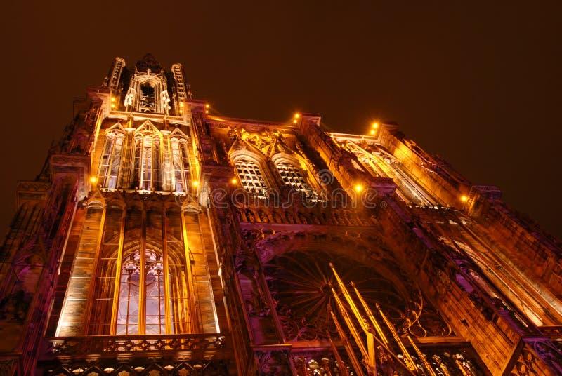 Catedral de Strasbourg na noite fotografia de stock