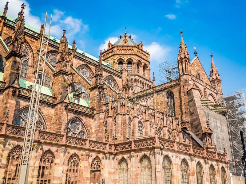 Catedral de Strasbourg ou a catedral de nossa senhora de Strasbourg, Als?cia, Fran?a fotografia de stock