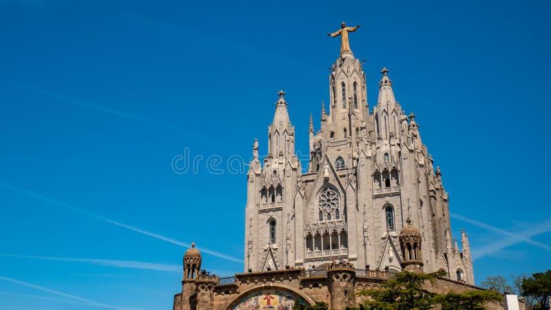 Catedral de Tibidabo Templo del coraz?n sagrado de Jes?s en el soporte Tibidabo Barcelona, Espa?a fotos de archivo