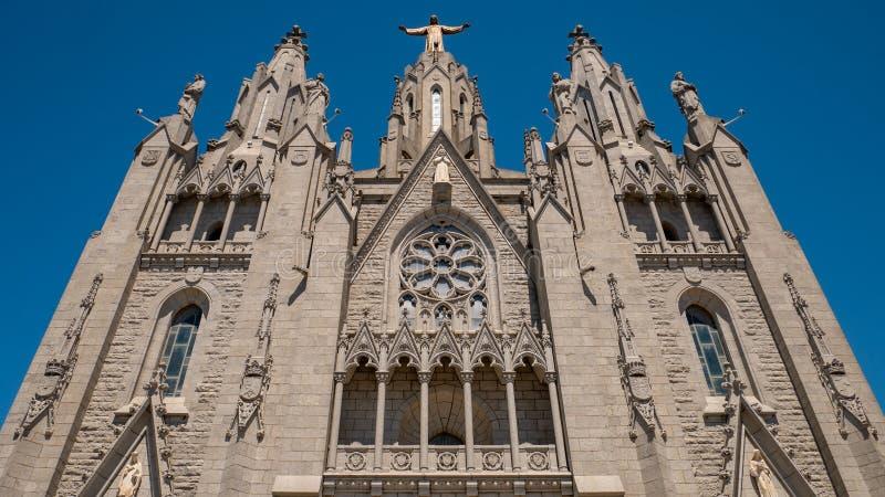 Catedral de Tibidabo Templo del coraz?n sagrado de Jes?s en el soporte Tibidabo Barcelona, Espa?a fotografía de archivo
