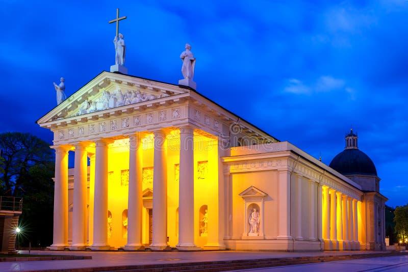 Catedral de Vilnius na noite, Lituânia fotos de stock