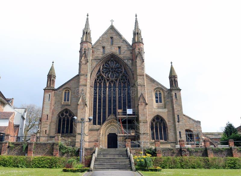 Catedral de Worcester del río Severn fotos de archivo