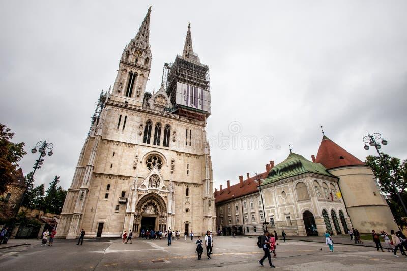Catedral de Zagreb en Kaptol, Croacia imagen de archivo libre de regalías