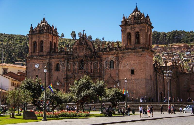 Catedral del Cuzco, Plaza De Armas, Cusco, Peru arkivfoto