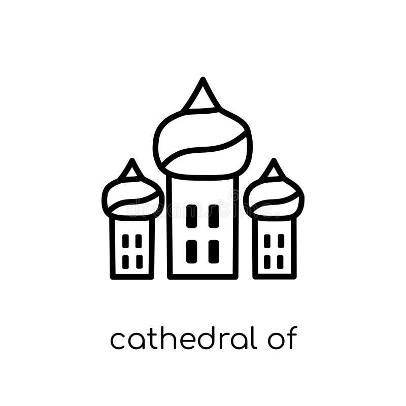Catedral del icono de la albahaca del santo Vector linear plano moderno de moda ilustración del vector
