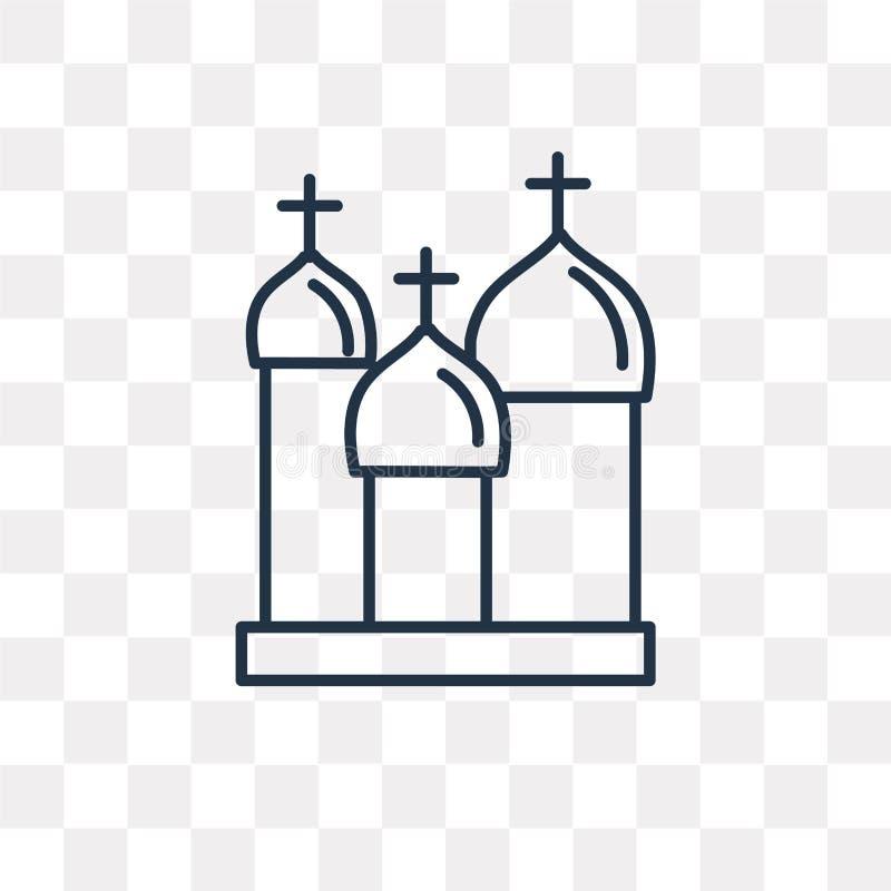 Catedral del icono del vector de la albahaca del santo aislado en el CCB transparente stock de ilustración