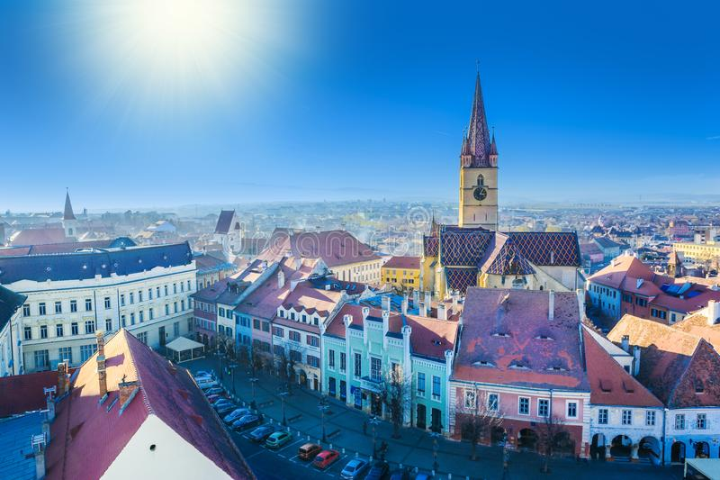 Catedral del Lutheran del aire en Sibiu imagen de archivo