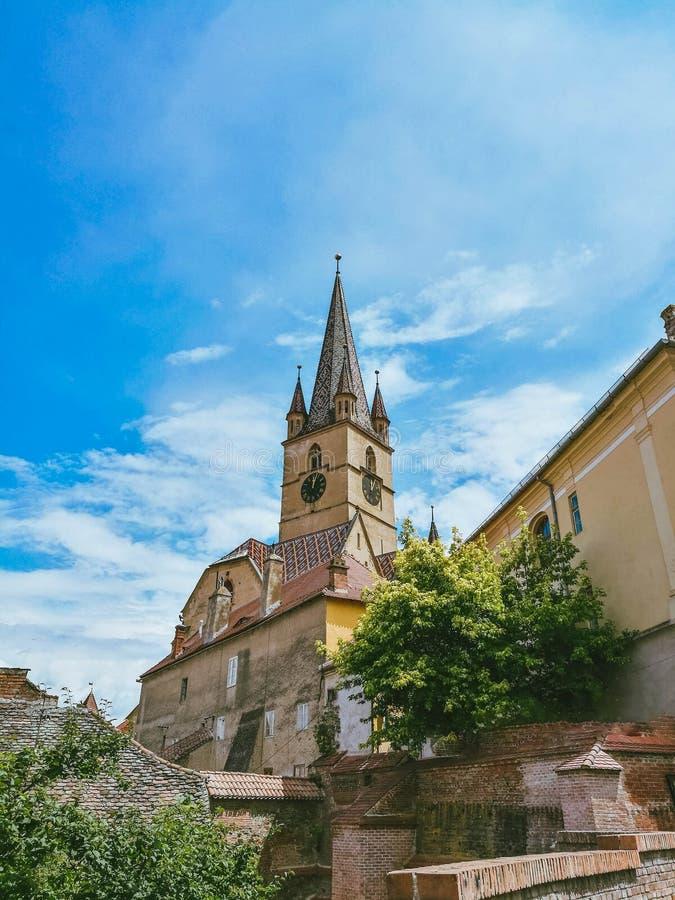 Catedral del Lutheran de Sibiu fotos de archivo