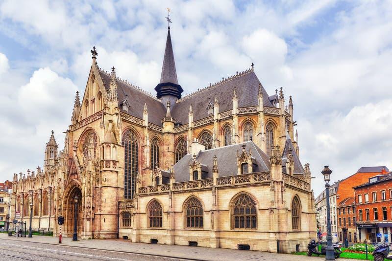 Catedral del ` s de Notre Dame du Sablon fotografía de archivo