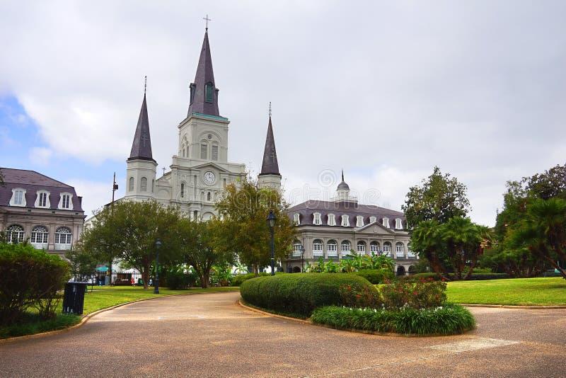 Catedral del Saint Louis y cuadrado de Jackson fotografía de archivo libre de regalías