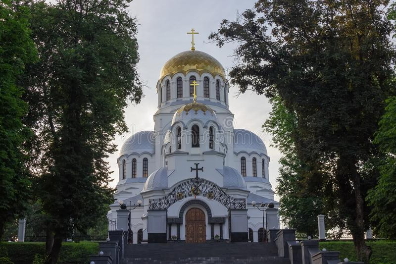 Catedral del santo Alexander Nevsky en la ciudad de Kamianets-Podilskyi, Ucrania foto de archivo