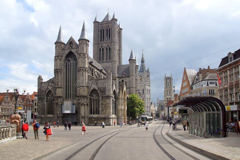 Catedral del St Bavo, Gante imagen de archivo libre de regalías