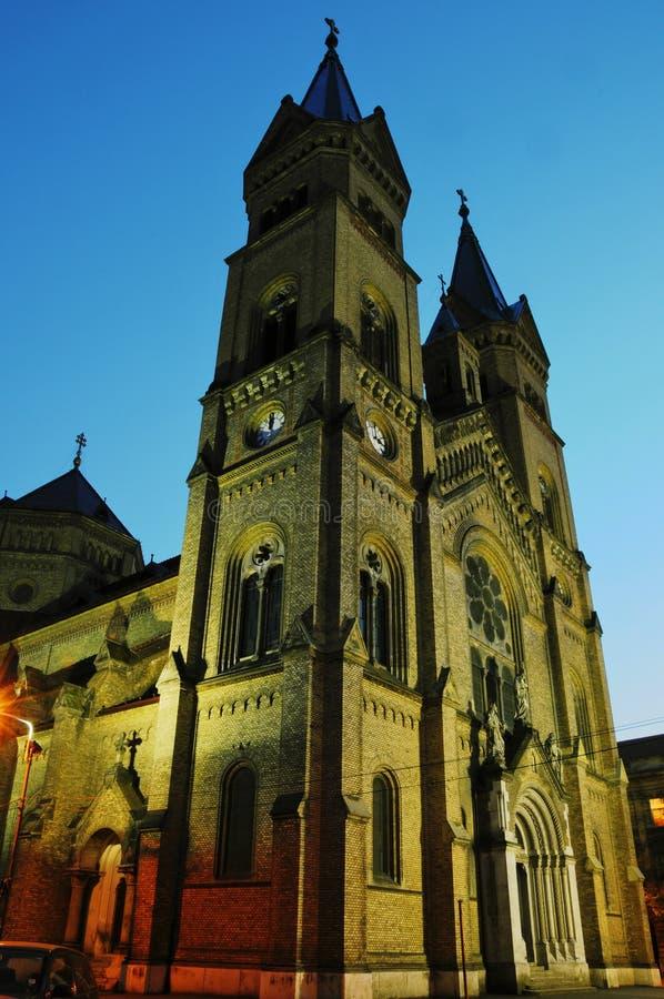 Catedral del St. Maria - districto de la tela, Timisoara imagen de archivo