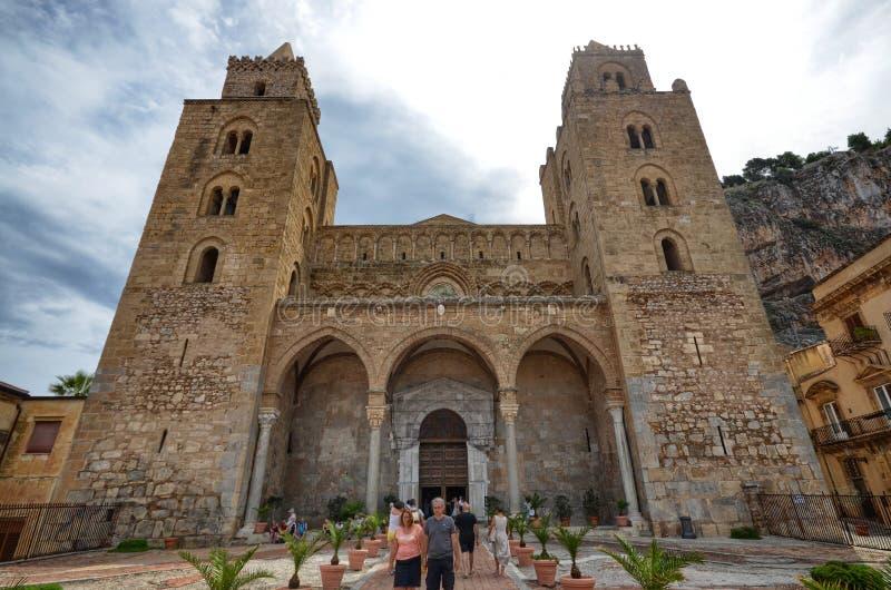 Catedral do ¹ de CefalÃ, ou catedral da basílica da transfiguração fotografia de stock