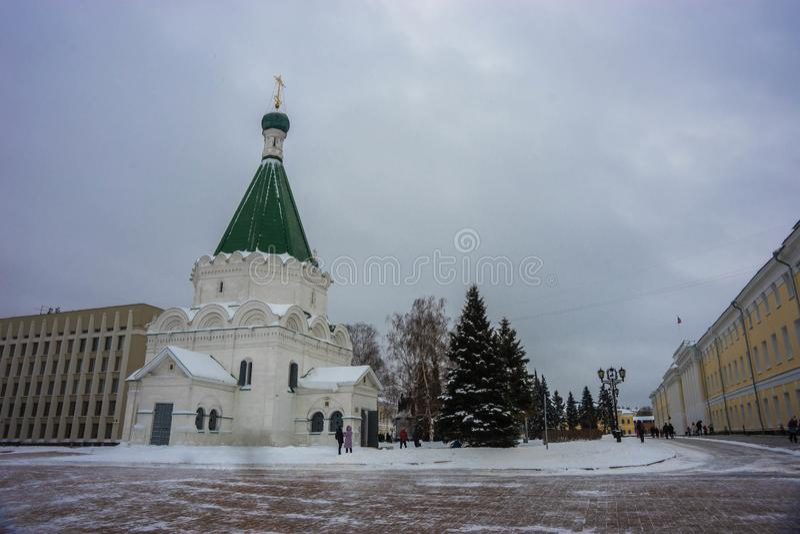 Catedral do arcanjo Michael no Kremlin de Nizhny Novgorod imagens de stock