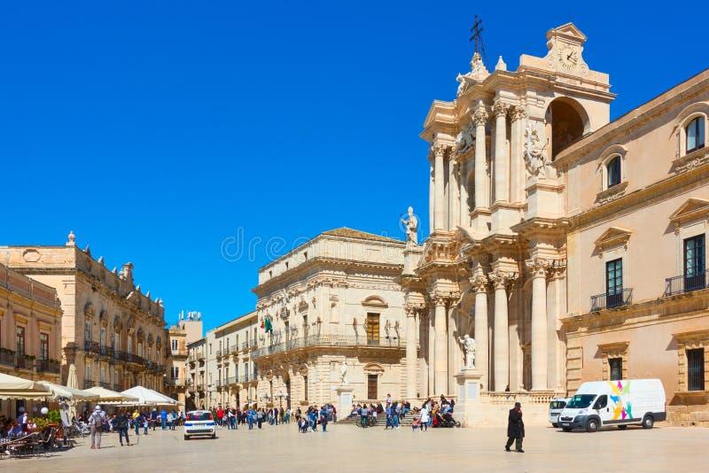 Catedral do avd de Piazza Duomo de Siracusa fotos de stock