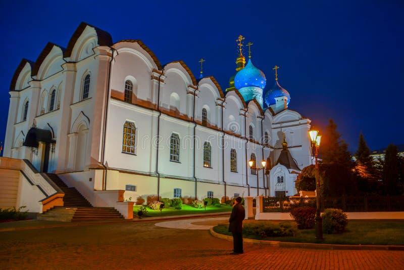 A catedral do aviso do Kremlin de Kazan ? a primeira igreja ortodoxa do Kremlin de Kazan O Kremlin de Kazan é o histórico princip imagens de stock