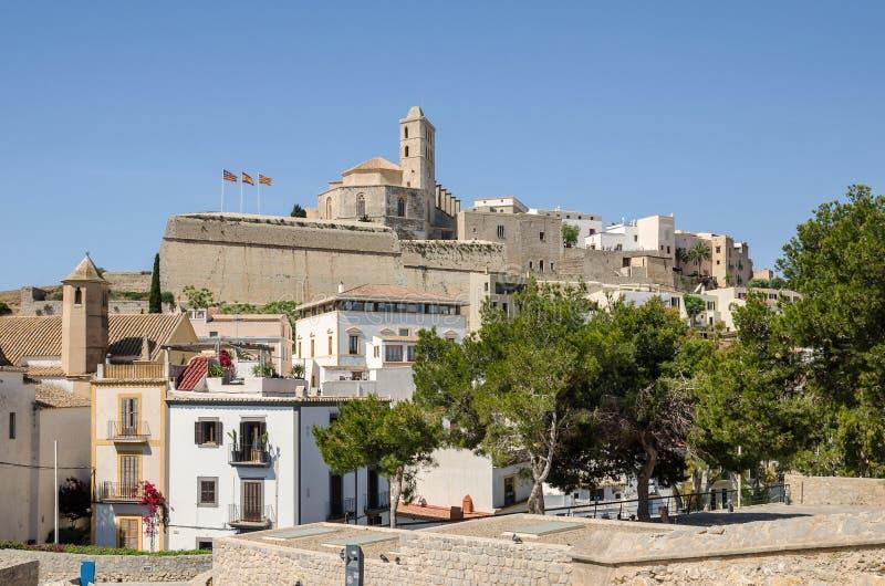 Catedral do d'Eivissa de Santa Maria na cidade de Ibiza fotografia de stock