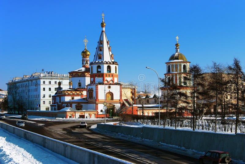 Catedral do esmagamento em Irkutsk imagens de stock