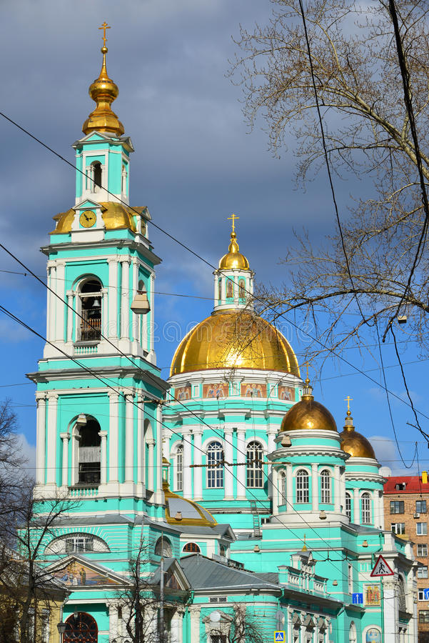 Catedral do esmagamento na rua Spartakovskaya em Moscou, Rússia foto de stock royalty free
