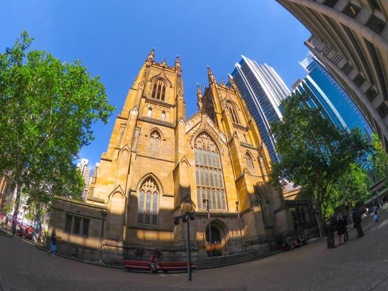 A catedral do ` s de St Andrew é a igreja da catedral da diocese anglicana de Sydney na igreja anglicana de Austrália fotografia de stock
