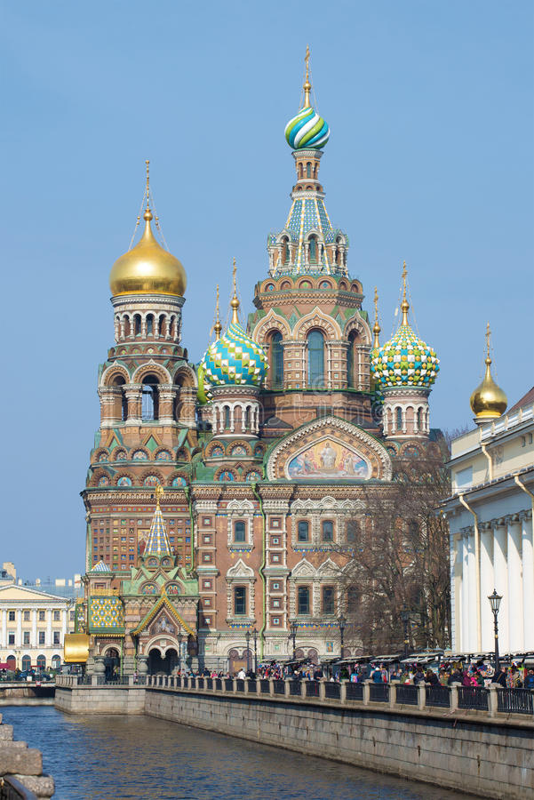 Catedral do salvador da ressurreição no close up do sangue de um dia de Sunny April St Petersburg fotografia de stock royalty free