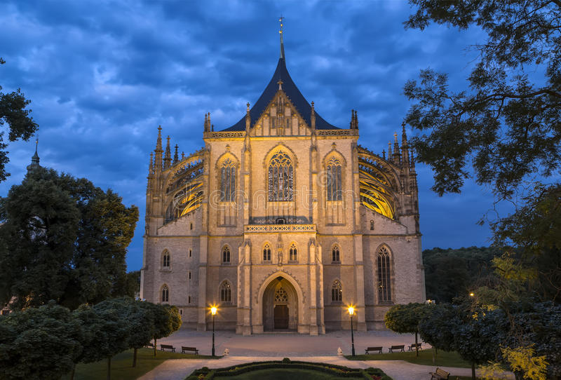Catedral do St Barbara em Kutna Hora, Boêmia, República Checa fotos de stock