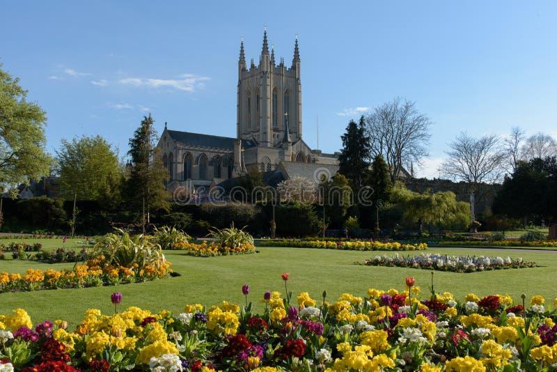 Catedral do St Edmundsbury com flores foto de stock