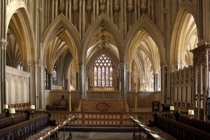 Catedral dos poços - cidade dos poços - Inglaterra fotografia de stock