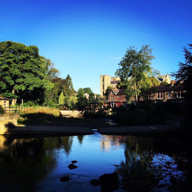 Catedral e rio de Ripon fotografia de stock royalty free