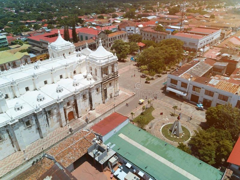 Catedral em Leon Nicaragua fotografia de stock royalty free