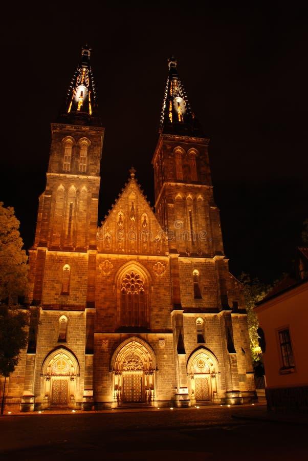 Catedral em Praga na noite fotografia de stock