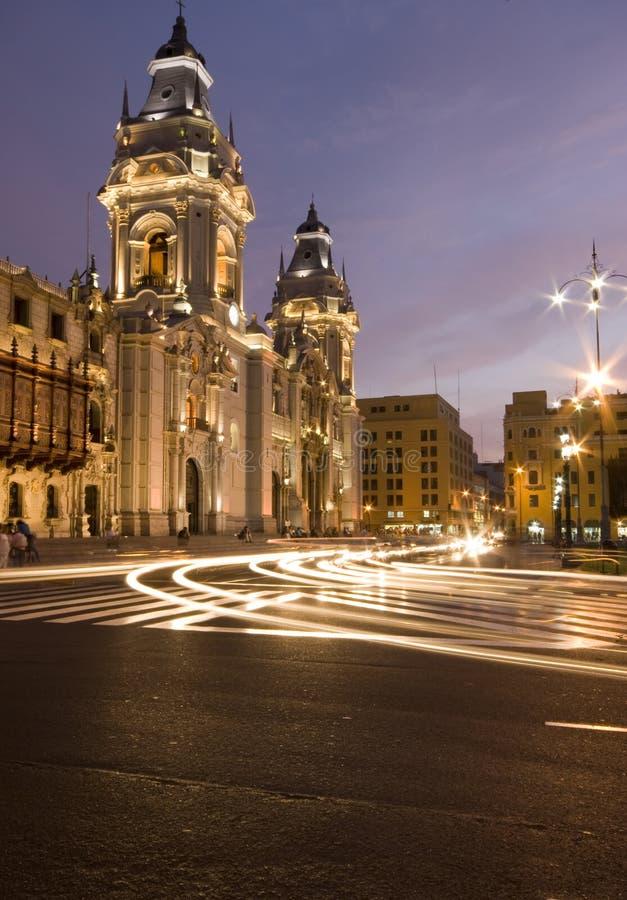 Catedral en alcalde Lima Perú de plaza de armas imagenes de archivo