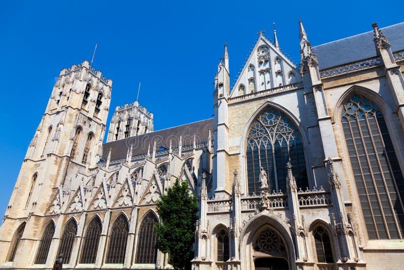 Catedral en Bruselas, Bélgica foto de archivo libre de regalías