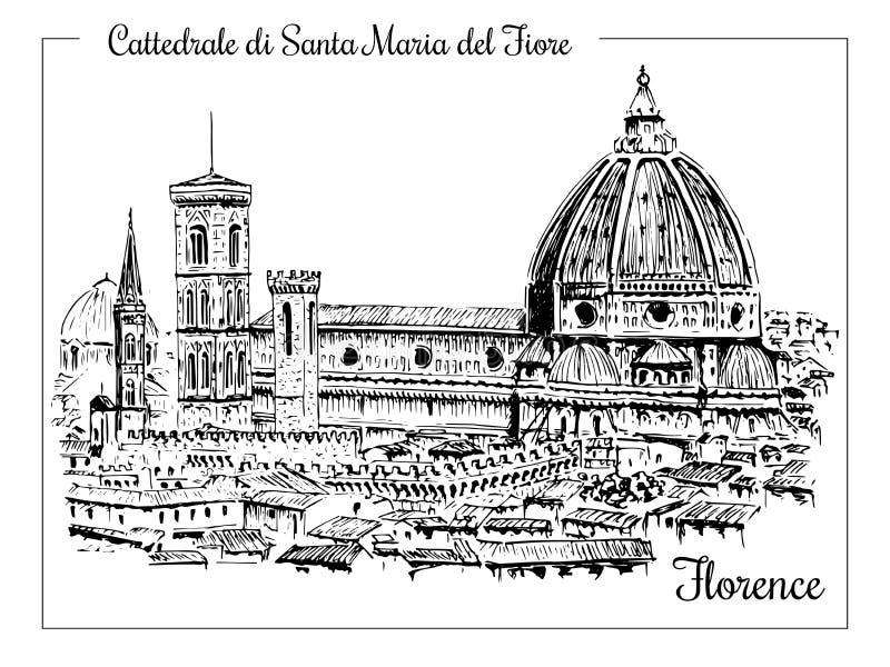 Catedral en Florencia, Italia Bosquejo dibujado mano del vector stock de ilustración