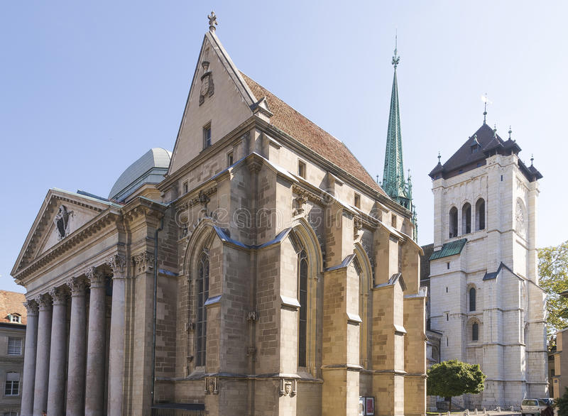 Catedral en Ginebra imagenes de archivo