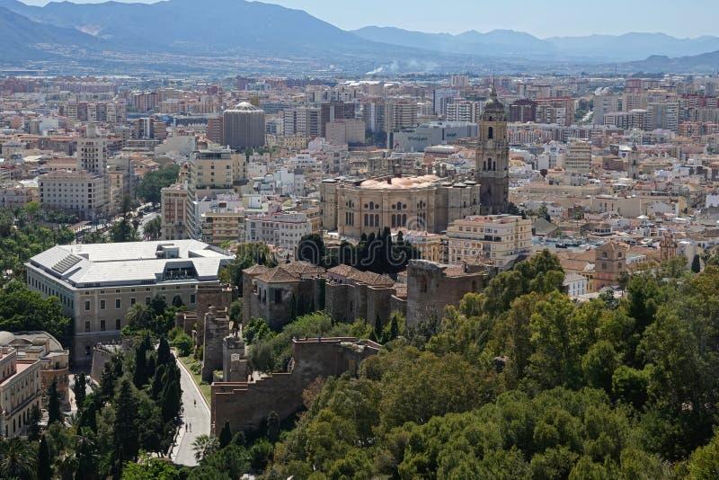Catedral en la ciudad de Málaga en Andalucía, España fotos de archivo