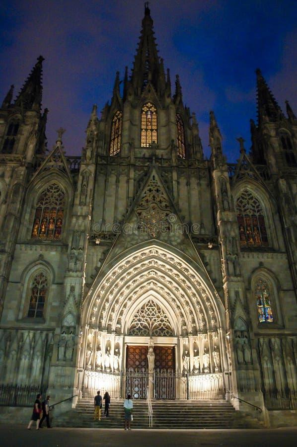 Catedral en la noche, Barri Gotic, Barcelona, Cataluña, España fotografía de archivo libre de regalías