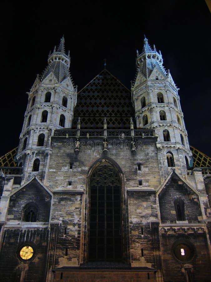 Catedral en la noche - Viena, Austria del St. Stephens foto de archivo