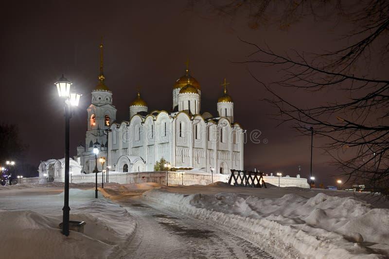 Catedral en noche del invierno - Vladimir de la suposición fotos de archivo libres de regalías