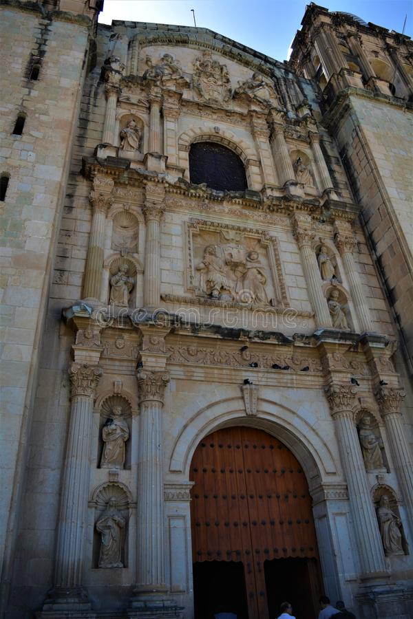 Catedral en Oaxaca. One of the most beautiful and important places in Oaxaca city, a place full of history. Amazing construction, the perfect place for a tourist stock photos