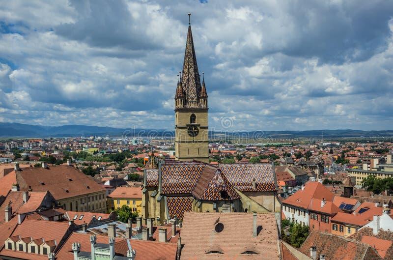 Catedral en Sibiu fotografía de archivo