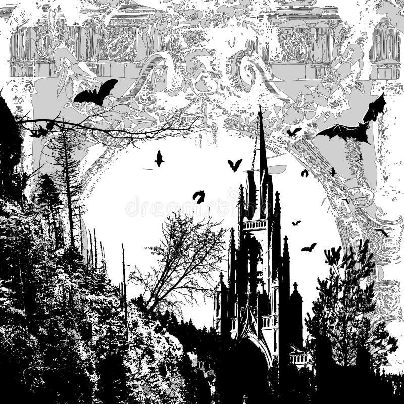 Catedral escura ilustração do vetor
