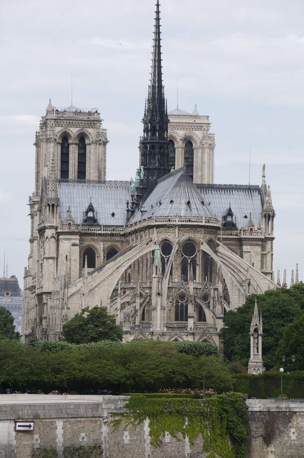 Catedral exterior Paris france de Notre Dame do apse imagens de stock
