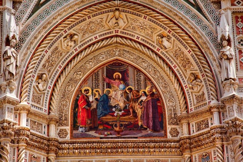 Catedral Florencia Italia del Duomo del mosaico de Jesús foto de archivo