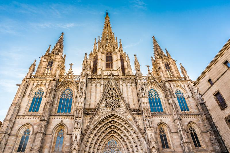 Catedral gótica - Barcelona, Cataluña, España fotos de archivo libres de regalías