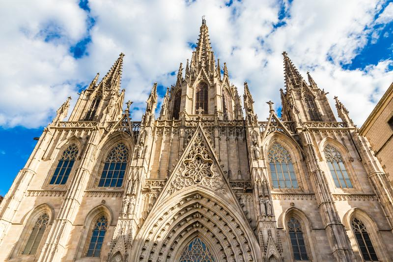 Catedral gótica - Barcelona, Cataluña, España fotos de archivo
